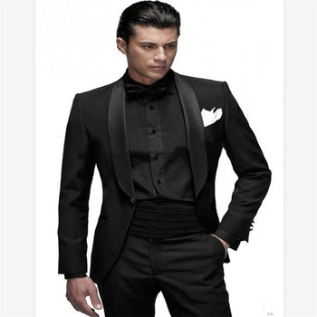 New Men's Suit Smolking Noivo Terno Slim Fit Easculino Evening Suits For Men Black Shawl Lapel Groom Tuxedos  Business(Jacket+pa