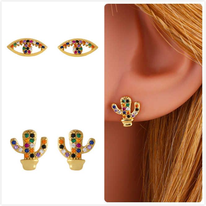 Boucles d'oreilles colorées en pierre Zircon pour femmes boucles d'oreilles en or mauvais œil arc-en-ciel cristal aretes fille fête cactus plante boucles d'oreilles R5