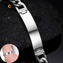 Vnox Glänzend Edelstahl ID Armband für Männer Personalisieren Gravieren Silber Farbe Link Kette Armband