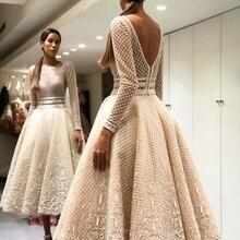 Cocktail-Dresses Champagne Robe-De-Soiree Lace Elegant Unique Prom-Gowns Tea-Length Full