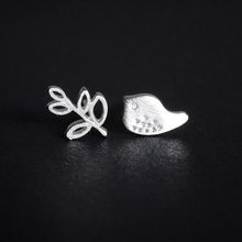 Fyla Mode 925 Sterling Silver Stud Earrings Fashion Olive Branch&Peace Dove Real Pure Women Party Jewelry