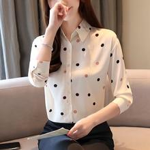 Blusas femininas shirts 2019 ladies tops chiffon blouse shirt for women long sleeve korean fashion clothing button Dot 0191