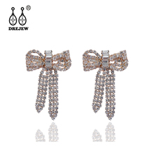 DREJEW Fashion Butterfly Gold Silver Crystal Statement Dangle Earrings 2019 925 Drop for Women Wedding Jewelry HE675