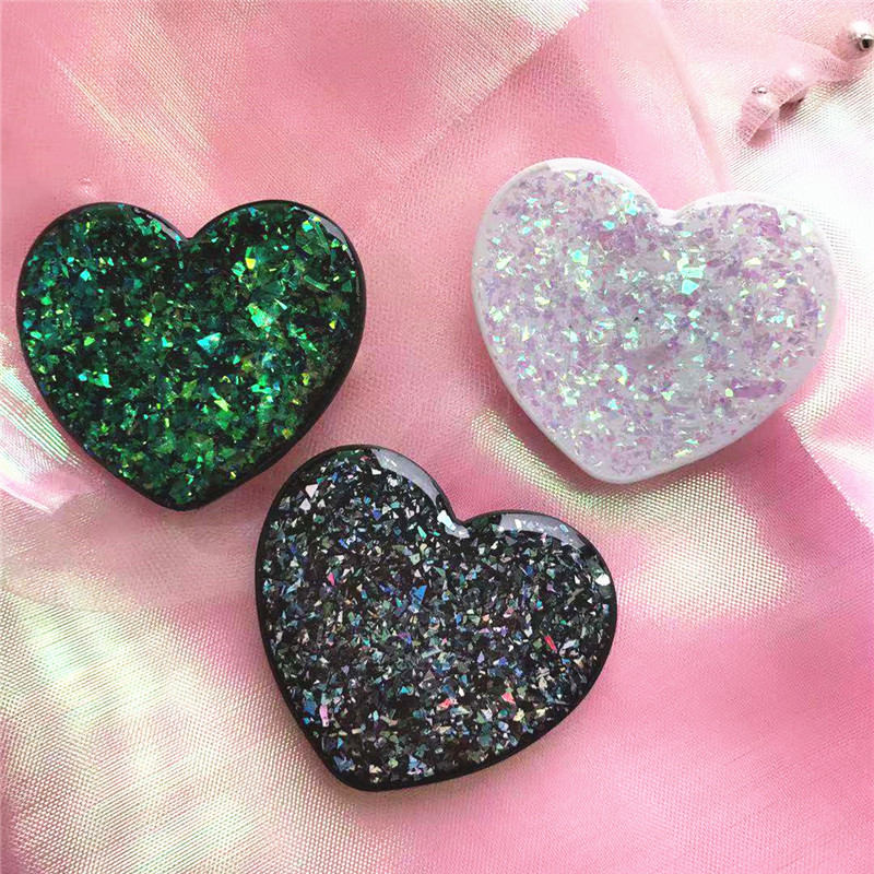 Hot Selling Glitter Heart Shape Phone Holder Universal Grip Stand