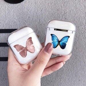 Image 1 - Airpods 프로 2 케이스에 대한 패션 아름다운 나비 케이스 에어 포드에 대한 귀여운 만화 하드 이어폰 커버 2 프로 충전 박스 capa