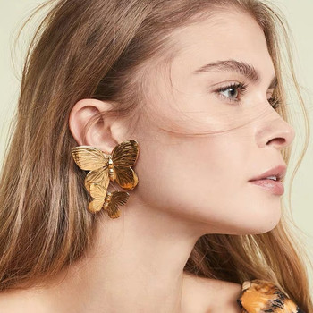 Docona Trendy Gold Double Butterfly Stud Earrings for Women Gift Metal Wing Earrings Statement Jewelry brincos 8949 image