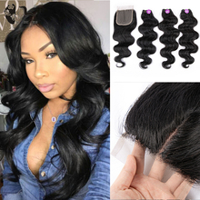 Human-Hair-Blend Packet Hair-Weave Closure-Body Deep-Wave Natural with 18-U-Types Lace