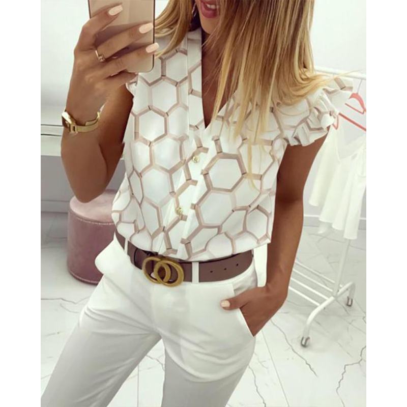 Womens Tops And   Blouses   Summer Casual Printed   Shirts   V Neck Petal Short Sleeve Top   Shirts   Sweet Style Flower Pineapple   Blouse