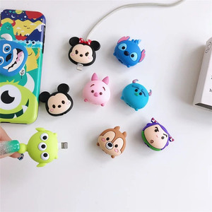 Image 4 - Wholesale Socket Car Phone Holder Cartoon Protector Cable Cord Saver Cover Coque For iPhone 8 Plus 5 5S SE 5C 6 6S 7 X Xs Max XR