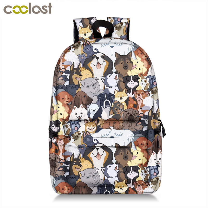 Kawaii Puppy Dogs School Backpack for Teenager Boy Girl Pug / Bulldog / Bull Terrier Children School Bags Backpack Kids Book Bag