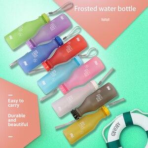 Image 5 - Candy Farben Wasser Flasche Unzerbrechlich Frosted Kunststoff wasserkocher Kostenloser Tragbare Wasser Flasche für Reise Yoga Lauf Camping