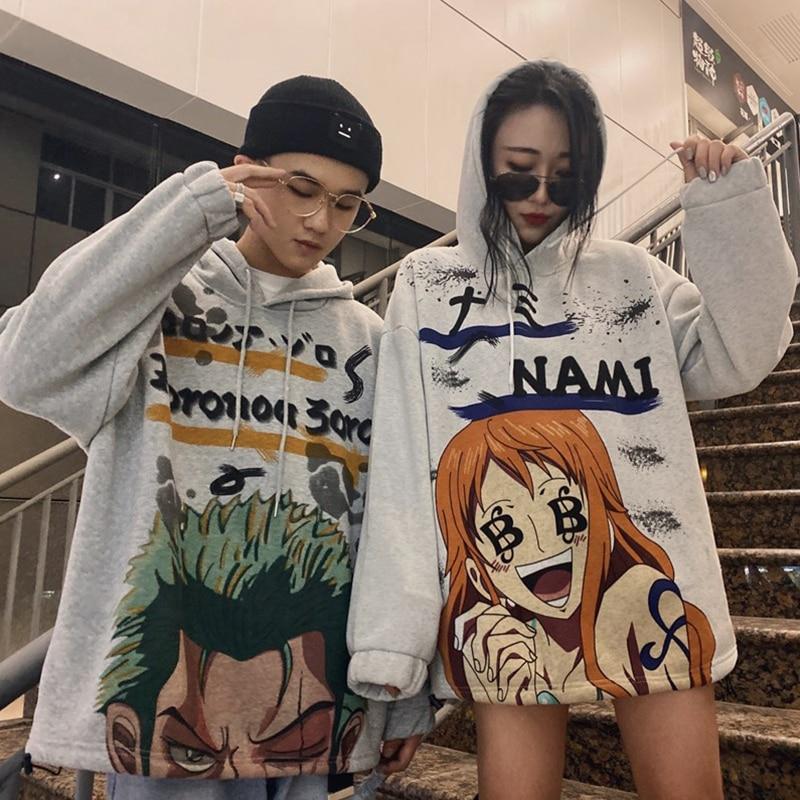Men Women Hoodies Anime One Piece Clothes Hooded Sweatshirt Japanese Harajuku Hoddies Long Sleeve Tops Korean Hodies Zoro Nami