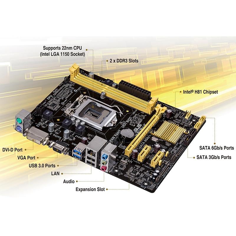 ASUS motherboard brand new H81M-K lga 1150 Intel 2xDDR3 SATA ssd DVI VGA USB 3.0 uATX original h81 mainboard 2011 1