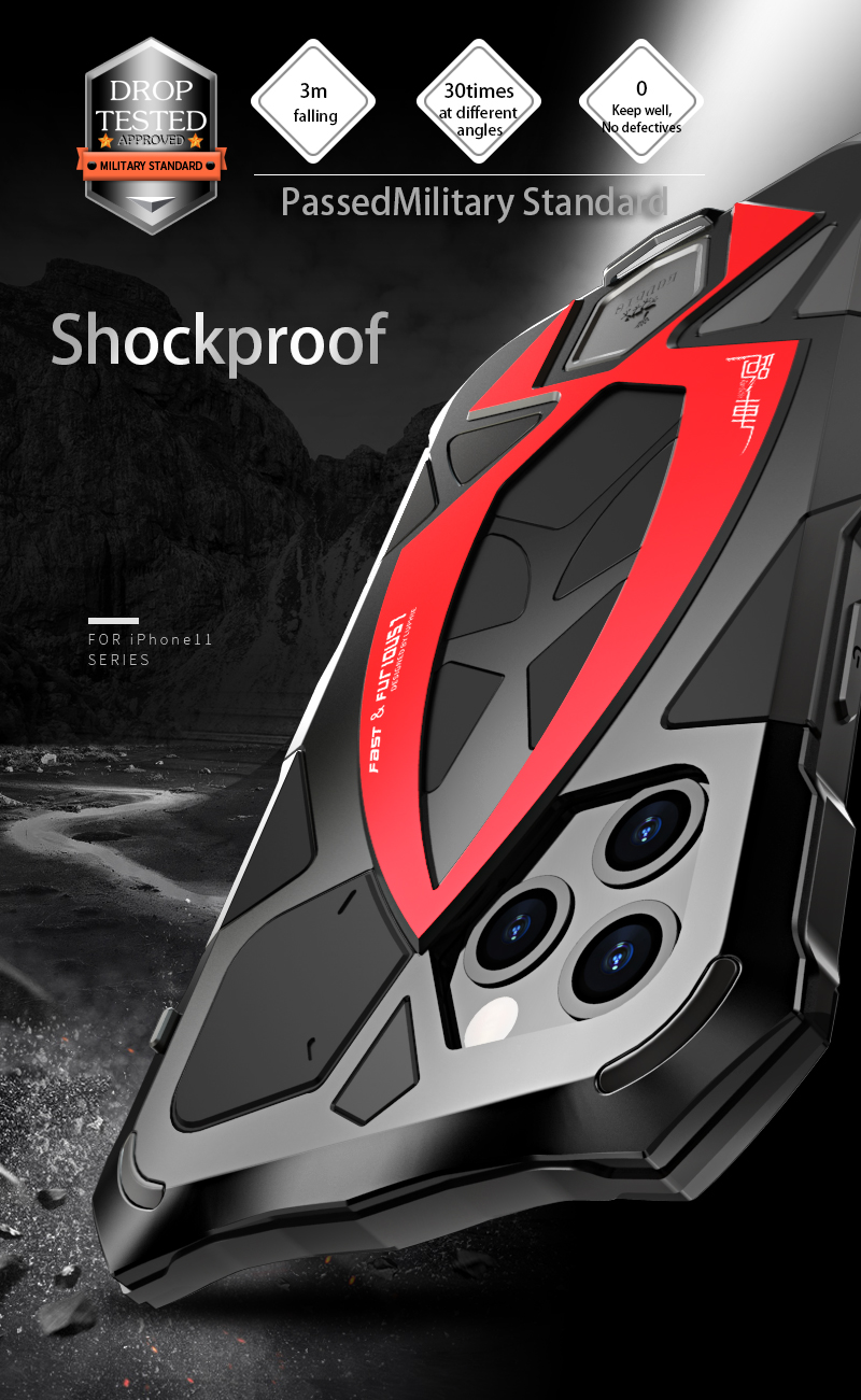 360 Full Protective Case For iPhone X XS MAX XR Shockproof Soft Silicone Metal Aluminum Back Cover Phone Case For iPhone 11 ProFitted Cases   -
