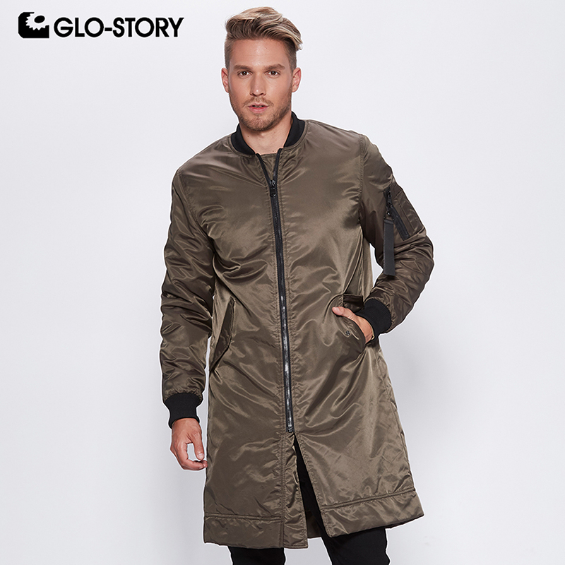 GLO-STORY 2020 Spring Men's Long Parkas StreetWear Stand Color Windbreaker Winter Warm Padded Jacket Coats Tops MMA-6502