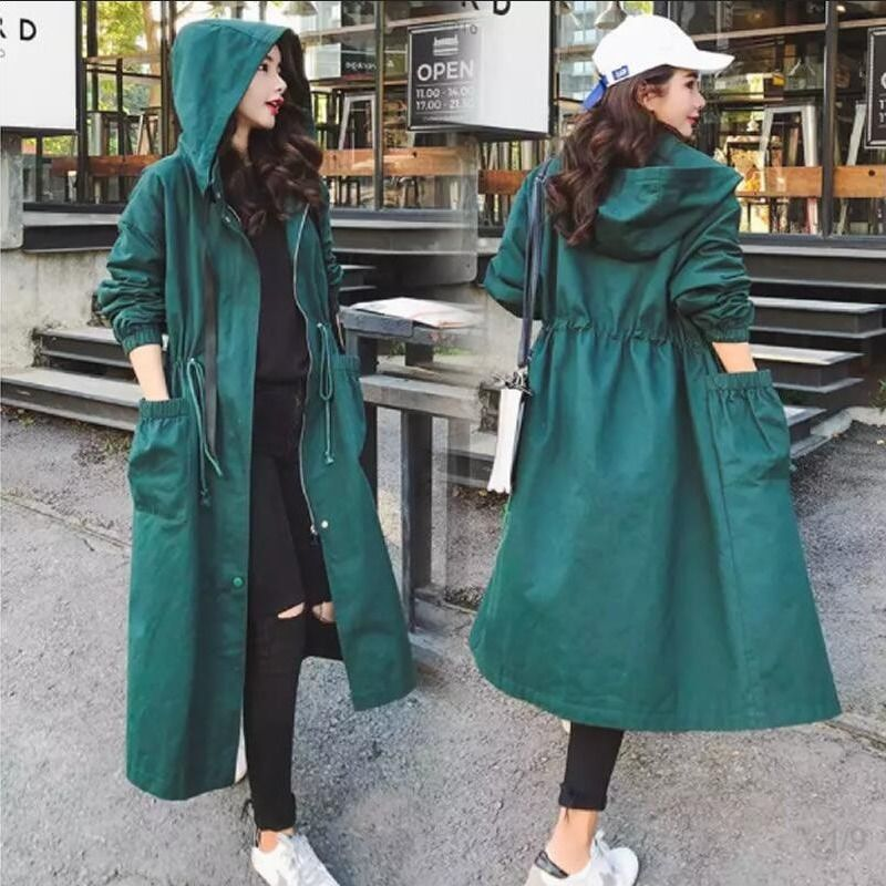 Women's Trench Coat 2020 Spring And Autumn Windbreaker Female Long Green Coat Loose Wild Drawstring Ladies Tooling Trench Coat