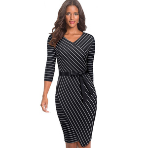 Image 4 - Nice forever Elegant V neck Stripes Office vestidos Business Party Bodycon Autumn Women Dress B548