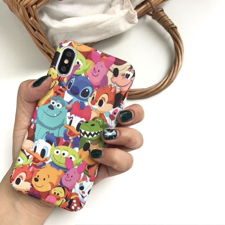Ins Hot Cute Stitch Emoji Dasiy Donald Duck Phone Case For iPhone 7 7 Puls 6 6S Puls X Cases Hard PC Matte Back Cover Coque