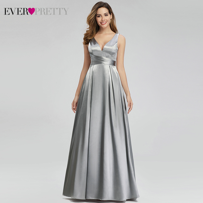 Elegant Satin   Prom     Dresses   Ever Pretty EP00980GY A-Line Double V-Neck Ladies Sparkle Maxi   Dresses   Vestidos Largos Fiesta 2019