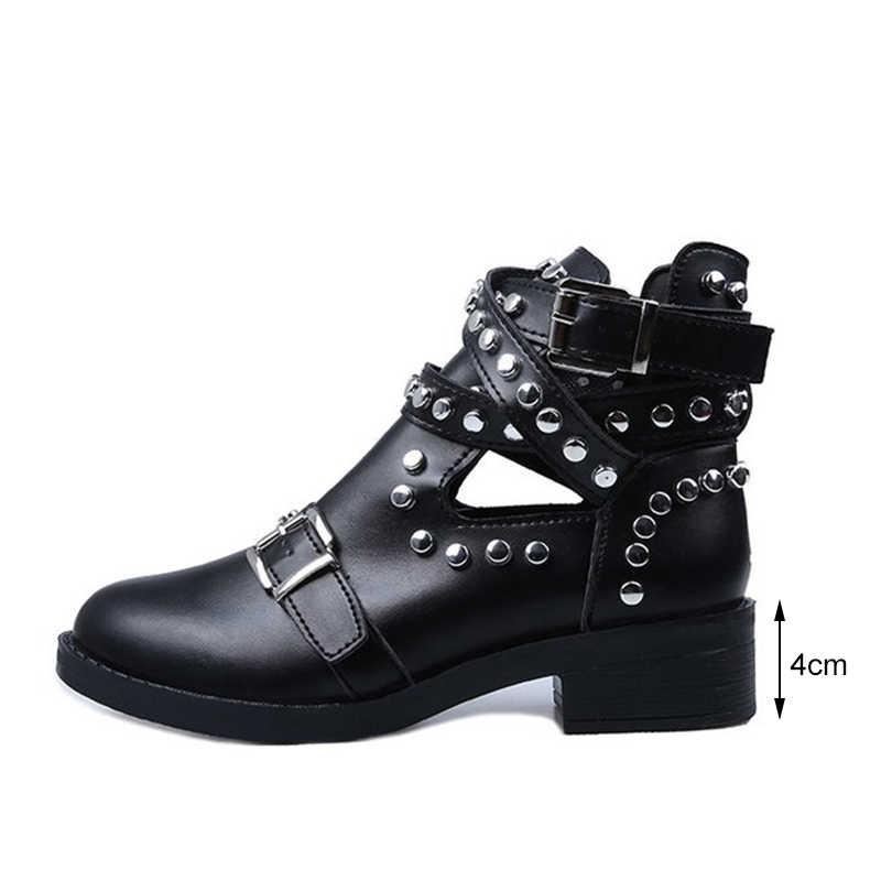 Kadın yarım çizmeler perçin toka kayış gladyatör bahar bayanlar Punk motosiklet çizme kadın platform ayakkabılar tıknaz topuklu kadın