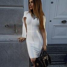 2020 yeni yaz bandaj elbise kadınlar ünlü parti beyaz Batwing kollu o boyun zarif seksi gece kulübü elbise kadın Vestidos