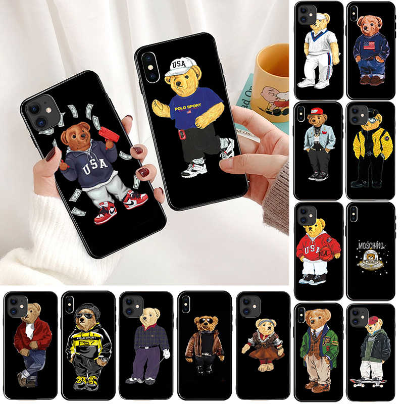 fashion Bear Italy Black Soft Shell Phone Cover for Apple iPhone 8 7 6 6S Plus X XS MAX 5 5S SE XR 11pro max Cellphones
