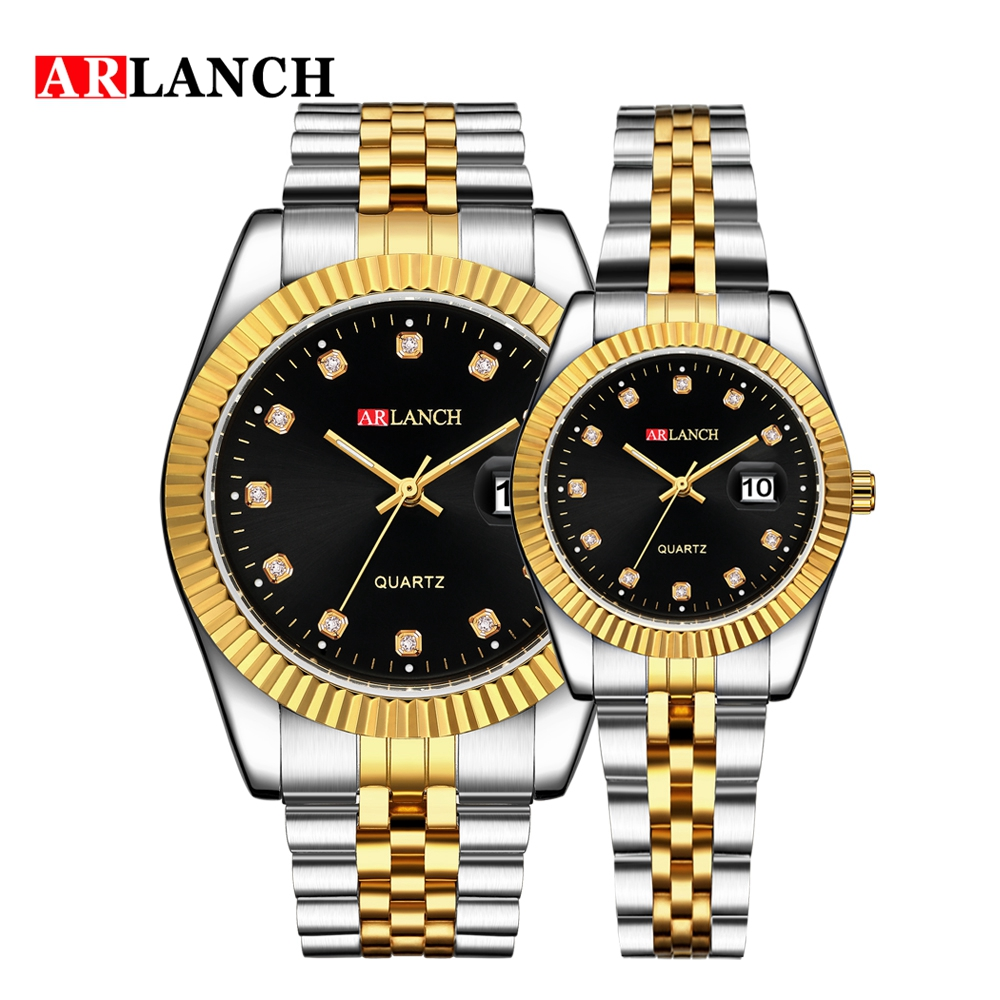 ARLANCH Luxury Brand Luminous Lover Watch Men Women Diamond Calendar Stainless Steel Watch Waterproof Quartz Couple Wristwatch