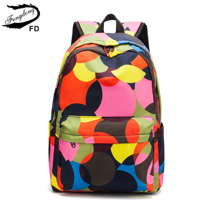 FengDong Children School Bags For Gilrs Waterproof Nylon Book Bag Girl Colorful Camouflage School Backpack Kids Fashion Bagpack