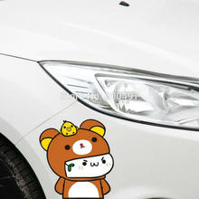 Newest Design Cartoon Lovely Bear Rilakkuma Car Stickers for Tesla Toyota VW Toyota Chevrolet Honda Ford Audi Fiat Hyundai Lada(China)