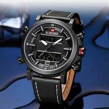 高級ブランド NAVIFORCE 軍事メンズ腕時計男性日付 LED アナログ時計デジタル腕時計メンズレザー防水クォーツ腕時計