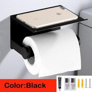 Image 1 - Soporte de papel higiénico para baño soporte de papel de váter de aluminio espacial montado en la pared para teléfono, color negro, plateado y dorado, con estante
