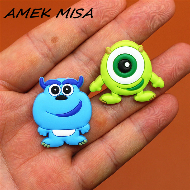 2pcs A Set PVC Cartoon Shoe Charms Accessories Monsters Croc Shoe Buckles Decorations Shoe Ormaments Fit JIBZ Party Kid's Gifts