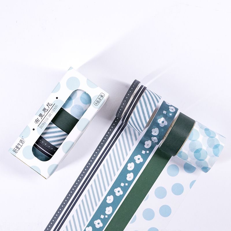6 Pcs/set Grid Washi Tape Set Christmas Decorative Tape Washi Tape Vintage Grid Spotted Ring Base Pattern Christmas Masking Tape