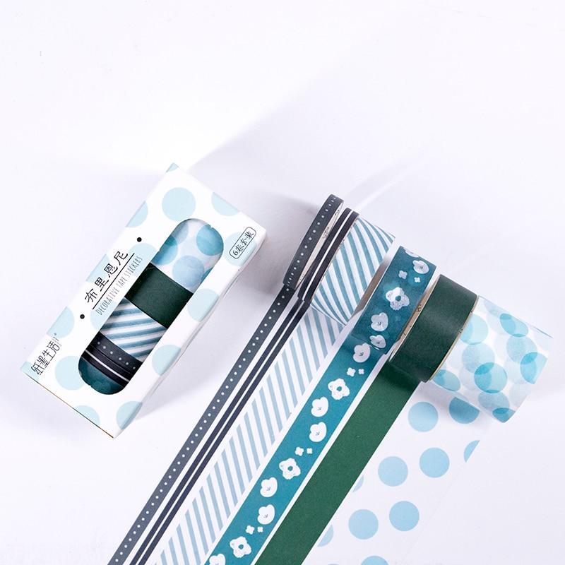 6 Pcs/set Grid Washi Tape Set Christmas Decorative Tape Washi Tape Vintage Grid Spotted Ring Base Pattern Christmas Masking Tape