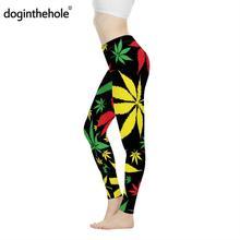 doginthehole Jamaica Colorful Hemp Leaf Print Women Sexy Fit