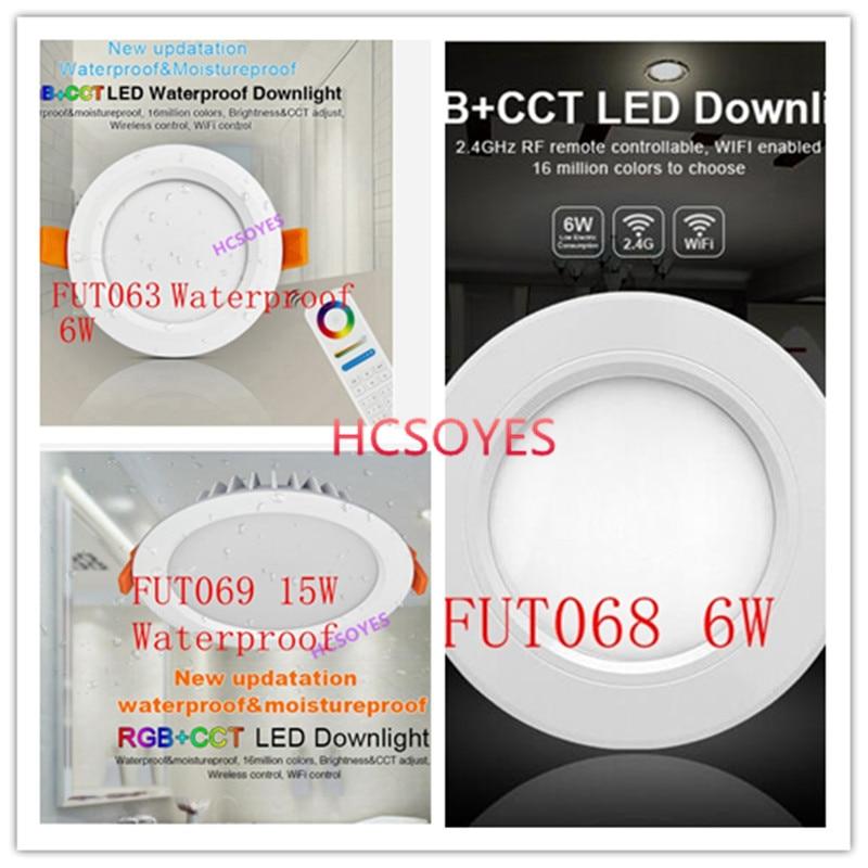 Milight FUT063 FUT068 6W/FUT069 15W LED Downlight AC100 240V dimmable RGB+CCT recessed Led panel light Waterproof AC110V 220V|LED Downlights| |  - title=