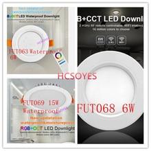 Milight FUT063 FUT068 6W/FUT069 15W LED Downlight AC100-240V dimmable RGB+CCT recessed Led panel light Waterproof AC110V 220V