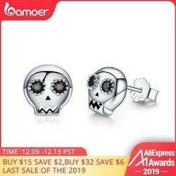 Bamoer genuíno 925 prata esterlina crânio esqueleto brincos para as mulheres preto claro cz prata esterlina jóias brincos sce064