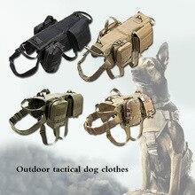 Coleira para cachorro, coleira peitoral para cães de médio e grande, com bolsas destacáveis, coleira militar k9 para cães de médio e grande porte jy