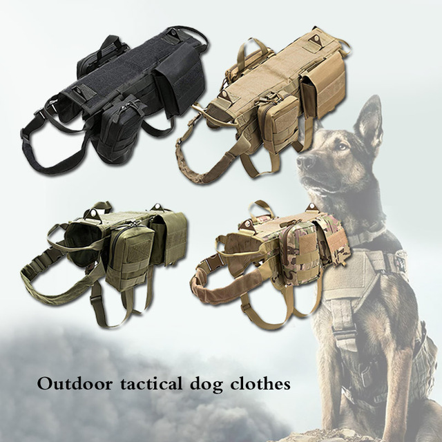 Fashion Tactical Dog Training Molle Vest Harness Pet Vest with Detachable Pouches Military K9 Harness For Medium Large Dogs JY