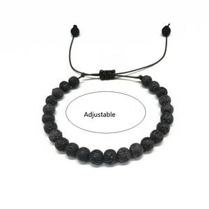 Image 3 - Мужской браслет с натуральными бусинами, 6 мм, черный белый браслет для медитации, Женский молитвенный браслет, Ювелирное Украшение для йоги