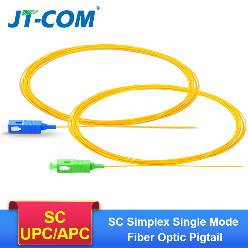 Free Shipping!50/100/200PCS/lot SC APC Optical Fiber Pigtail Simplex 0.9mm 9/125 Single Mode SC UPC Fiber Optic Patch Cable/Cord