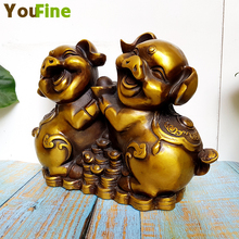 Bronze Fu pig lucky pair of ornaments Newlywed decorations Cute home sculpture decorative collectibles