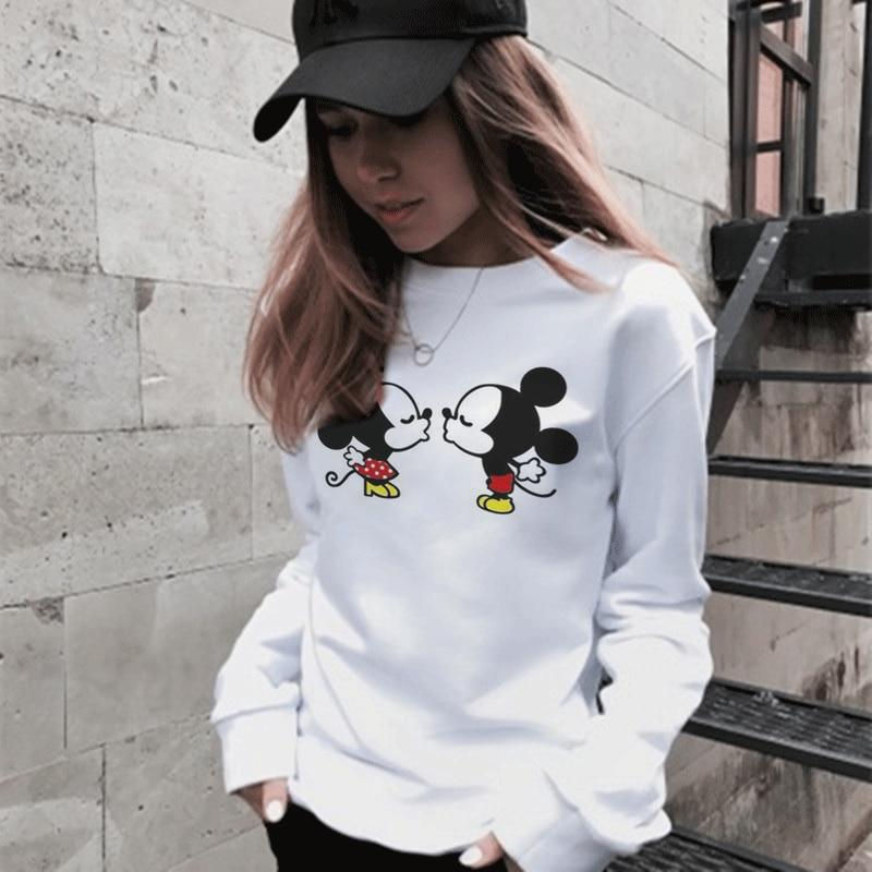 Korean Kawaii Cartoon Mouse Sweatshirt Joker Trend Pullover Hoodies Harajuku Comic Mouse Lovers O-Neck Fashion Loose Sweatshirts