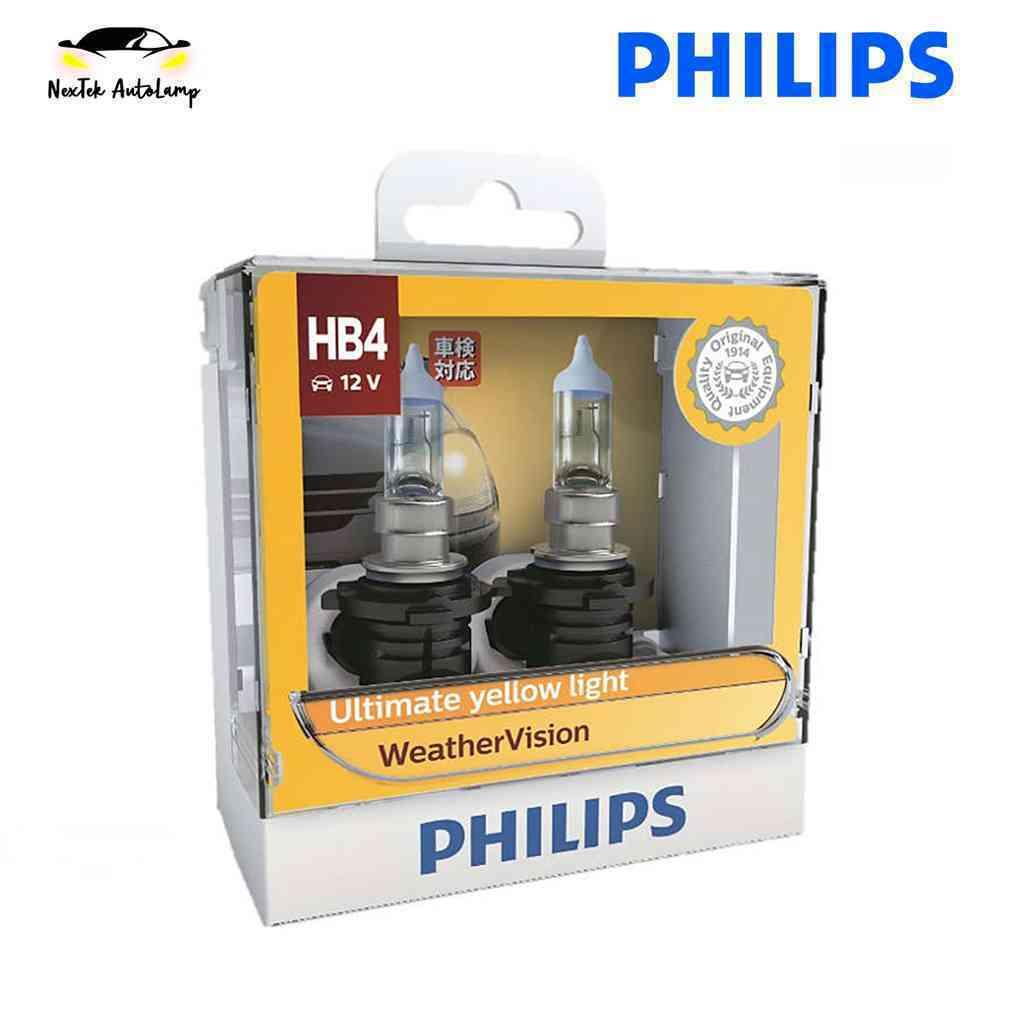 Philips Weather Vision HB4 12V 55W 9006WV Car Halogen Headlight 2900K Yellow Light Fog Lamp +60%