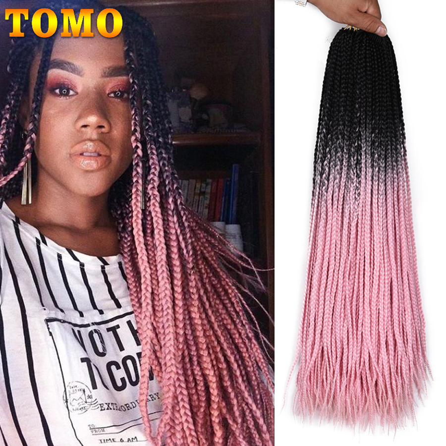 TOMO Box Braids Crochet Braids 22Strands 24Inch Synthetic Hair Extension For Braids Ombre Brading Hair Blonde Bug Pink Red Green