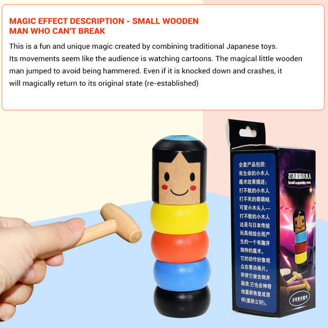 1pcs Of Immortal Indestructible Wooden Man Toy Street Stage Props Can Not Break Small Wooden People