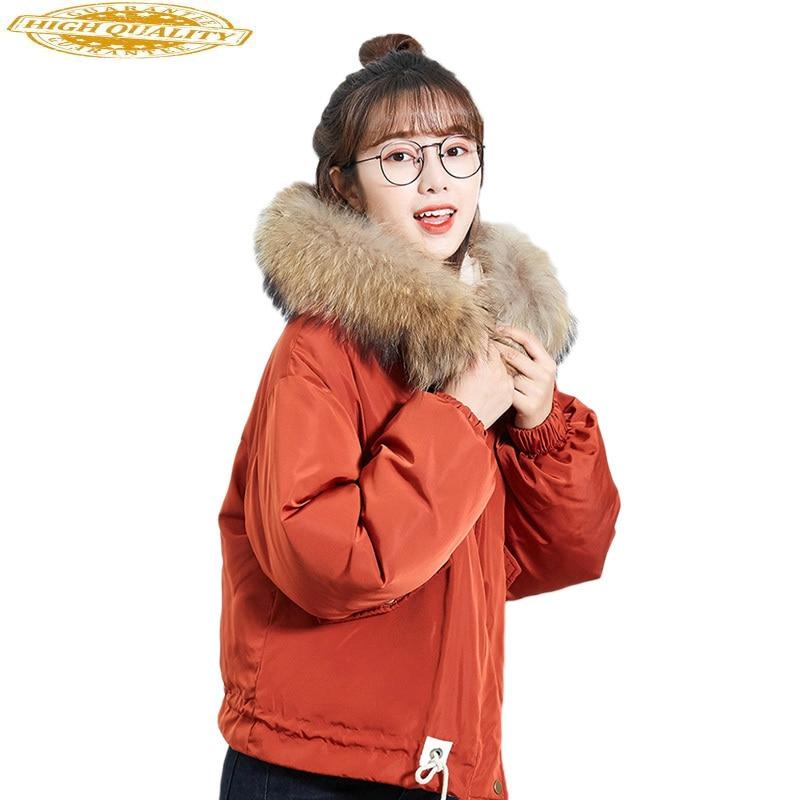 Short White Duck Down Jacket Women Winter Large Fur Collar Korean Hooded Parka Pink Coat Jackets Campera Mujer KJ532