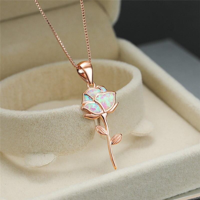 Personalized Charm Blue Imitation Opal Pendant Necklaces Wedding Jewelry