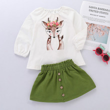 Girls Fawn Print Skirt Fashion Cotton Kids Clothes Girls Long Sleeve + Skirt Two-piece Suit Toddler Girl Clothes Girl Outfits a girl's two piece suit fashion streetwear leopard print long sleeve hooded top and short skirt girls clothing set toddler suits